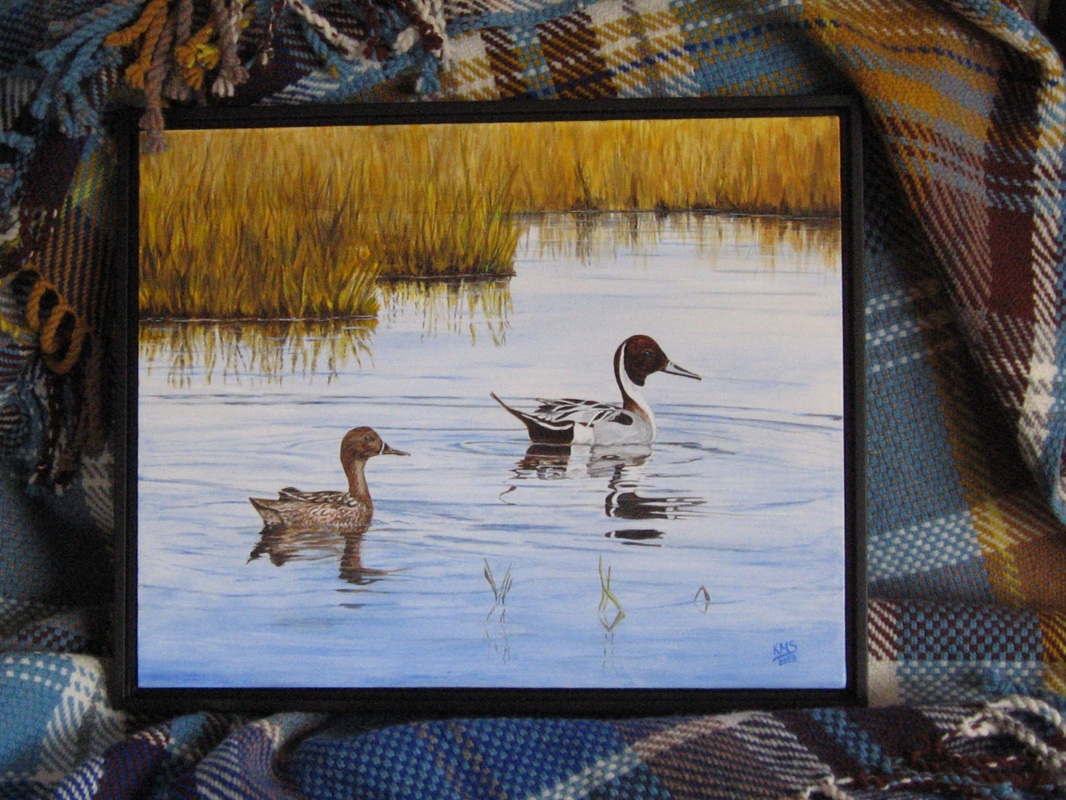 Painting of Pintail Ducks and woven blanket